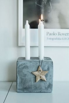 Make your own advent wreath out of concrete - 18 ideas and inspiration .- Adventskranz aus Beton selber machen – 18 Ideen und Inspirationen Small advent wreath made of concrete with asterisks as decoration - Cement Art, Concrete Crafts, Concrete Art, Concrete Projects, Diy Projects, Decor Crafts, Diy And Crafts, Concrete Candle Holders, Christmas Crafts