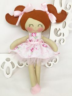 Fabric Dolls Soft Baby Doll Pink Handmade Doll by SewManyPretties