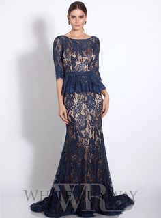 Carey Lace Dress. A gorgeous full length gown by Jadore. A high neck style with a peplum waistline and short sleeves. Perfect for Black Tie events and Mother of the Brides.