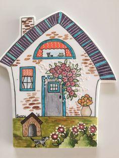 netmusavirlik@hotmail.com Clay Houses, Ceramic Houses, Tile Art, Mosaic Art, Ceramic Painting, Ceramic Art, House Doodle, Name Plate Design, Clay Fairy House