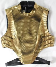 "~~~ LIMITED EDITION ~~~ BARBARA BUI HIVER 2013 ""GOLD SEQUINED"" WARRIOR TOP ~ 40 #BarbaraBui #CroppedTop #EveningOccasion"