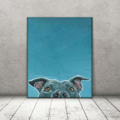 Pit Bull Art This pit bull takes a quick and shy little peek at you. He can't help but cock his head to the side playfully, expectantly, hopeful for an ear scratch or a doggy treat. Just below the frame, his pit tongue lolls and he gives his most charming smile making you break out