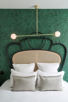 malachite wallpaper and cane bed at the hotel Panache in Paris statement headboard roundup on coco kelley Hotel Panache Paris, Casa Hotel, Hotel Decor, Luxurious Bedrooms, Interiores Design, Cheap Home Decor, Bedroom Decor, Bedroom Lamps, Wall Lamps