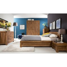Modern chunky king size bed frame in stirling oak finish with wooden bed slats. Stylish low bed frame from contemporary Gent bedroom furniture range. Quality bedroom furniture from BRW in the UK. Small Bedroom Storage, Queen Platform Bed, Bed Slats, Wooden Slats, Living Room Sets, Minimalist Home, Modern Bedroom, Bed Frame, Bedroom Furniture