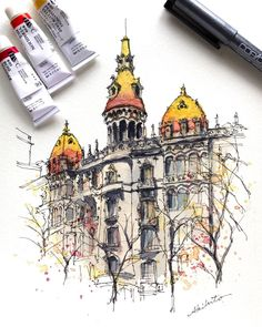 Akihito Horigome (@horiaki2) в Instagram: «スペイン・バルセロナの建物 — Barcelona , Spain #aquarell #art #painting #watercolor #sketch #paint #drawing #sketching #sketchbook #travelbook #archisketcher #sketchaday #sketchwalker #sketchcollector #artbook #artjournalrа #traveldiary #topcreator #usk #urbansketchersм #urbansketch #скетчбук #скетч #скетчинг #pleinair #aquarelle #watercolorsketch #usk #architecture #topcreator