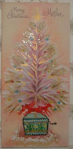 UNUSED - Gold - Glittered PINK Christmas Tree -1950's Vintage Christmas Card