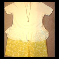 Festive Loft Shorts! NWT! Festive Loft shorts. Citron abstract leaves on a white background. Pair with a chambray shirt for a different look.  6 inch inseam. LOFT Shorts