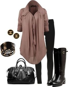Mauve blouse, black skinny jeans, riding boots, outfit | Outfit Ideas
