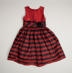 Girls Taffeta Striped Dress with Flower Applique - love this for my girls for Christmas this year!