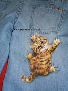 Pintura em tecido - Yellow cat