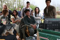 """Selena Gomez, Nat Wolff, and Josh Hutcherson in between takes of filming """"In Dubious Battle"""" in Bostwick, Georgia. March 25, 2015."""