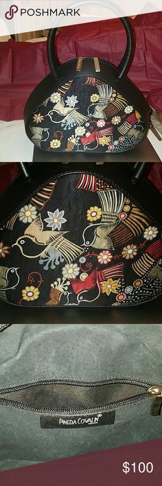 Pineda Covalin leather and silk handbag! NWOT Exquisite!!! Leather handles,bottom and trim. BLACK suede interior. One interior zippered pocket Pineda Covalin  Bags