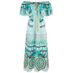 Temperley London Dream Catcher Tie Dress ($1,595) ❤ liked on Polyvore featuring dresses, aqua mix, midi, aqua blue dress, silk dress, blue a line dress, mid calf dresses and scoop-neck dresses