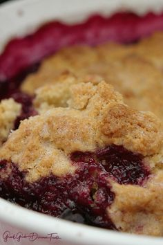 Triple Berry Cobbler - This mixed berry cobbler tastes like an old fashioned cobbler recipe Grandma made with raspberries, blackberries and blueberries. Triple Berry Cobbler, Mixed Berry Cobbler, Strawberry Cobbler, Fruit Cobbler, Dump Cake Recipes, Baking Recipes, Old Fashioned Blackberry Cobbler Recipe, Tasty Vegetarian Recipes, Yummy Recipes