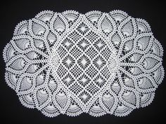 Oval crochet pineapple doily
