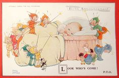 """Mabel Lucie Attwell PC 2546 """"Look Who's Come"""" Baby In Bed Fairies & Boo Boos"""