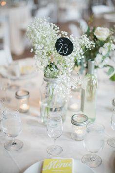 Milwaukee Wedding from Erin Jean Photography Simple Centerpieces, Wedding Table Centerpieces, Wedding Table Settings, Centerpiece Ideas, Wedding Pins, Wedding Details, Our Wedding, Gypsophila Wedding, Wedding Flowers
