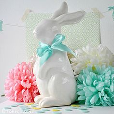 Ceramic bunny with ribbon bow | Flickr - Photo Sharing!
