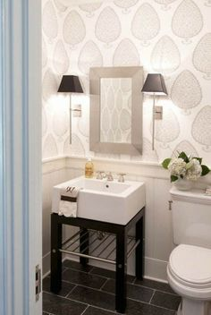 Five Perfect Powder Rooms--love the paper, sconces…not a fan of the sink