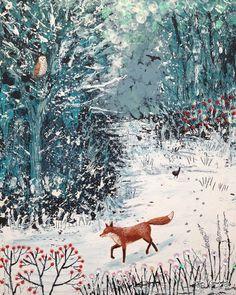 8 x 10 inch canvas print of fox and owl in a winter wood from an original acrylic painting 'Fox Watching' by Jo Grundy – Winterbilder Fuchs Illustration, Fox Art, Arte Popular, Winter Art, Winter Snow, Illustrators, Art Paintings, Art Photography, Travel Photography