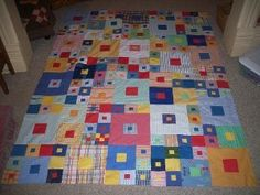 Hip to Be Square Quilt.  This is one of the best quilt patterns. I have made 3 CA King-size quilts, mostly Batiks. Love it!
