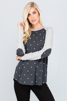 Hello polka dots for fall! Loving this top with elbow patches. Frockbox.ca | Your monthly style subscription for Canadian women size small - 3XL. Try it out today using code TRYFAVOURITES.
