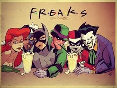 This is by @rickcelis and we LOVE IT! Tag your best friends! #friends #poisonivy #twoface #catwoman#riddler #harleyquinn #joker #dccomics #lootcrate