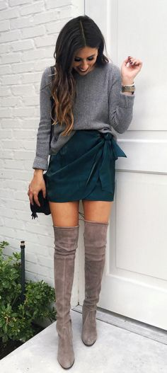 #winter #outfits green skirt