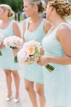 a summer wedding featuring bridesmaids in the prettiest shade of turquoise Photography: M Three Studio Photography - www.mthreestudio.com  Read More: http://www.stylemepretty.com/2014/06/11/charming-destination-wedding-washington-island/
