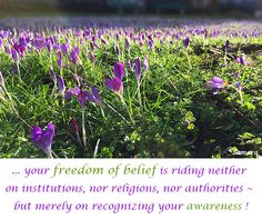 ... your freedom of belief is riding neither on institutions, nor religions, nor authorities ~ but merely on recognizing your awareness !
