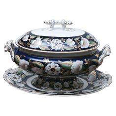 19th C. Ashworth Soup Tureen and Stand/Underplate | From a unique collection of antique and modern porcelain at https://www.1stdibs.com/furniture/dining-entertaining/porcelain/