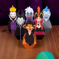 Disney's dastardly villains! Kids can put these bowling pins together and then knock 'em down with a rubber ball.