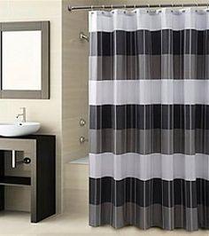 Striped Shower Curtain Polyester Fabric Black White Gray Block Stripes  Bathroom   Pinterest   Striped Shower Curtains, Fabrics And Gray