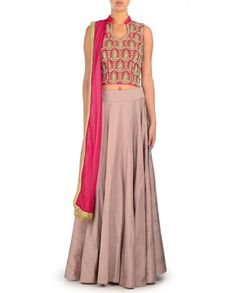 Rose pink sleeveless blouse with key hole back. Zardozi work and bead embellishments adorn the blouse. Taupe brown lengha and dupattaPadded bustier of blouseWash care: Dry clean only
