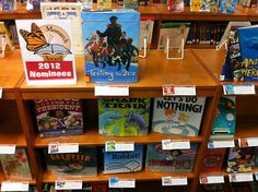 for charlotte awards? Library Book Displays, Library Shelves, Library Books, Library Ideas, Shelf Talkers, Teacher Librarian, Bulletin Board Display, Media Specialist, Media Center