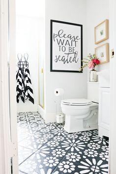 DIY Painted Stencil Bathroom Floor - The Home Depot Blog