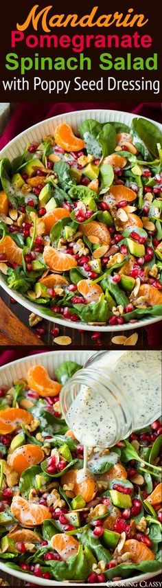 Pomegranate Spinach Salad with Poppy Seed Dressing - perfect Thanksgiving or Christmas salad! We loved it!Mandarin Pomegranate Spinach Salad with Poppy Seed Dressing - perfect Thanksgiving or Christmas salad! We loved it! Vegetarian Recipes, Cooking Recipes, Healthy Recipes, Cooking Ideas, Poppy Seed Dressing, Clean Eating, Healthy Eating, Healthy Food, Summer Salads