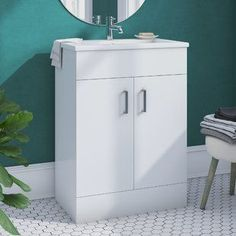 Zipcode Design Showcasing a Maddalena design, glossy white finish and in-built basin, this Maddalena Free-standing Vanity Unit brings a contemporary touch to your look. Wall Showcase Design, Zipcode Design, Vanity Units, Vanity, Shower Room, Wall Mounted Vanity, Sink Shelf, Showcase Design, Free Standing Vanity