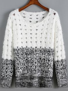 White Black Round Neck Hollow Knit Sweater