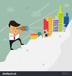 Real Estate Concept. Businessman looks through a telescope on Real Estate. Vector Illustration