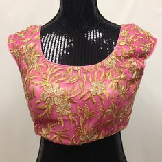Golden Embroidery Blouse - Light Pink