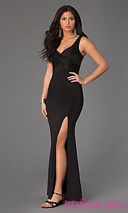 Buy Floor Length Sleeveless Black V-Neck Dress by Emerald Sundae at PromGirl