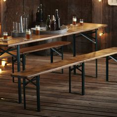 Roost Biergarten Outdoor Folding Table & Benches- Depicting traditional German style, our Roost Biergarten Folding Table and Benches are a class in itself. The pieces fold in half for easy storage. Picnic Table Bench, Table And Bench Set, Outdoor Folding Table, Outdoor Dining, Outdoor Spaces, Folding Tables, Outdoor Tables, Beer Table, Root Beer