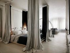If you prefer you could of course do something much more simple by adding curtains behind the bed. This is also a great way of faking a four poster bed. Put up four curtain poles in the ceiling and hang your curtains... It doesn't get much easier than that.