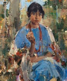 By Nicolai Fechin, Indian Girl in Blue Dress, Made of oil on canvas kp