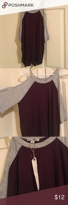 NWT cold shoulder midsleeve Brand new perfect condition! NWT. Size large. Soft and stretchy material. Burgundy and gray. Bundle to save!:) moral fiber Tops