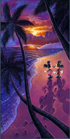 Mickey & Minnie take an ocean side walk in the sunset.
