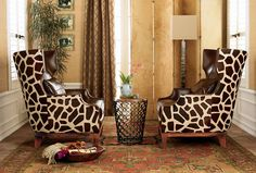 African print chair  | Essence Table Linen Collection. Faux Fur Zebra, Leopard, Giraffe