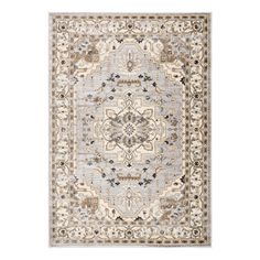 "Ivory and Gray Medallion Elyse Area Rug - 7Ft10""x10Ft10"" by World Market"