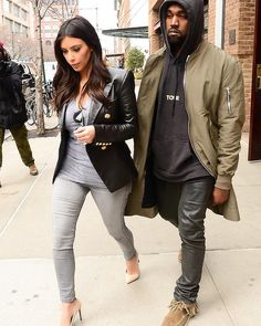 Singer Kanye West and Kim Kardashian are seen in Tribeca on March 25, 2014 in New York City. #streetstyle #fashion #kimkardashian #kaynewest #newyork #smh #lifeandstyle